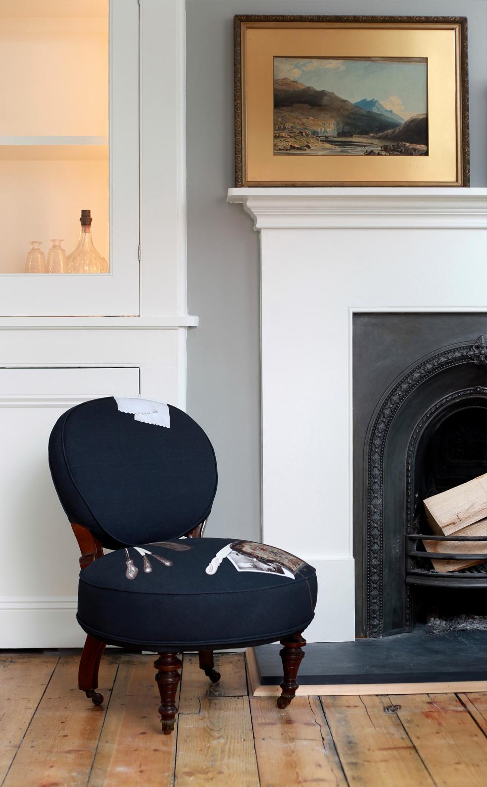 Hannah Stanton, Inca Starzinsky, Fabric design, digital printing, victorian chair,