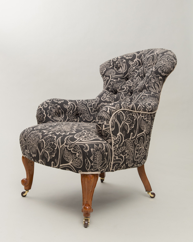 Iron Back Celia Birtwell Victorian chair Deep Buttoned
