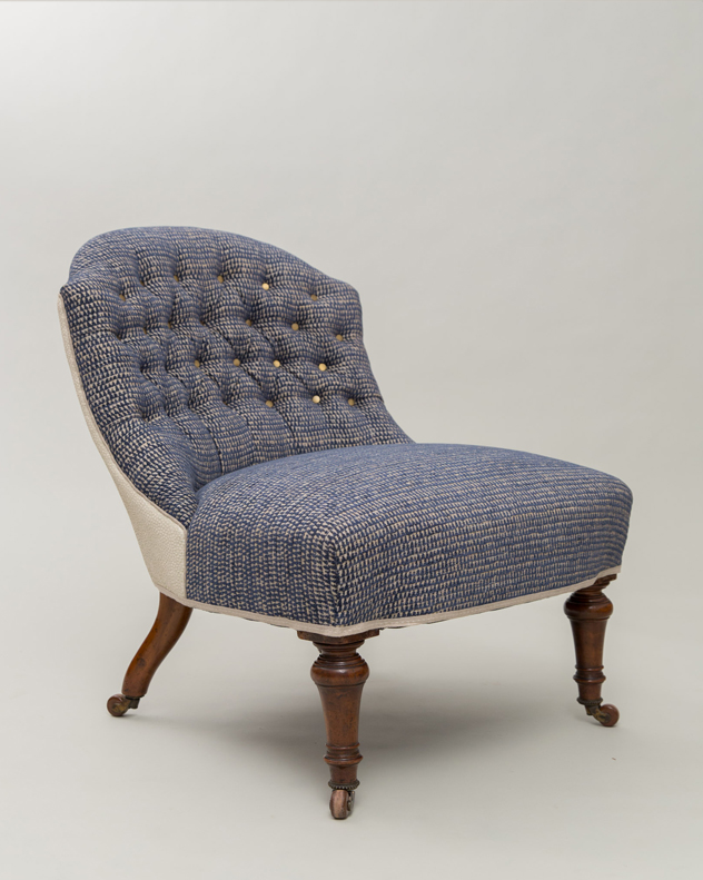 Victorian chair Sanderson deep buttoned james hare