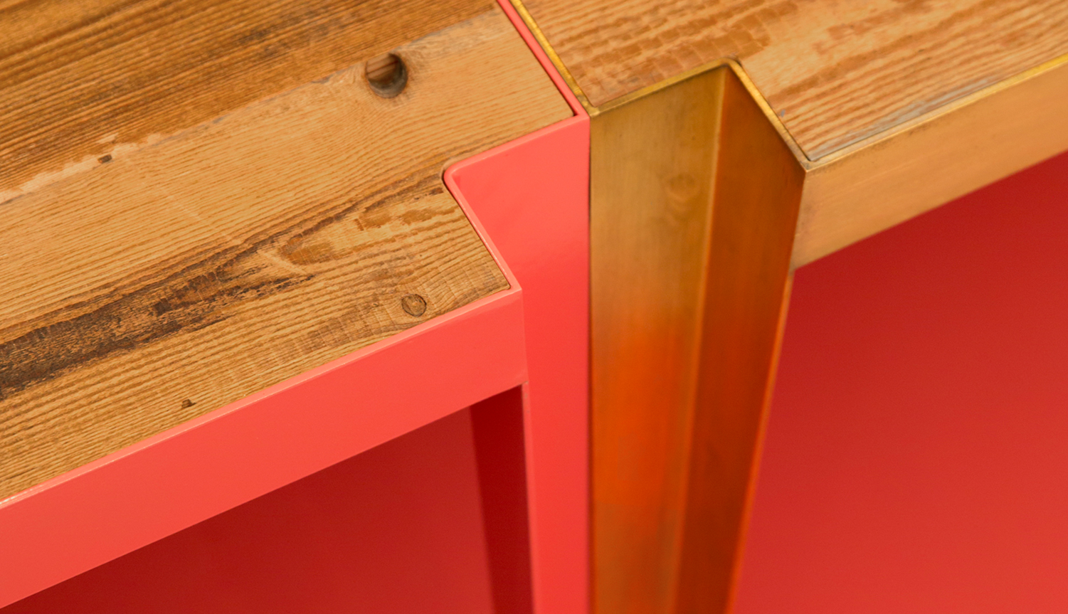 Hannah Stanton, Brazil Table Collection, Brass, Stacking, Reclaimed wood Furniture